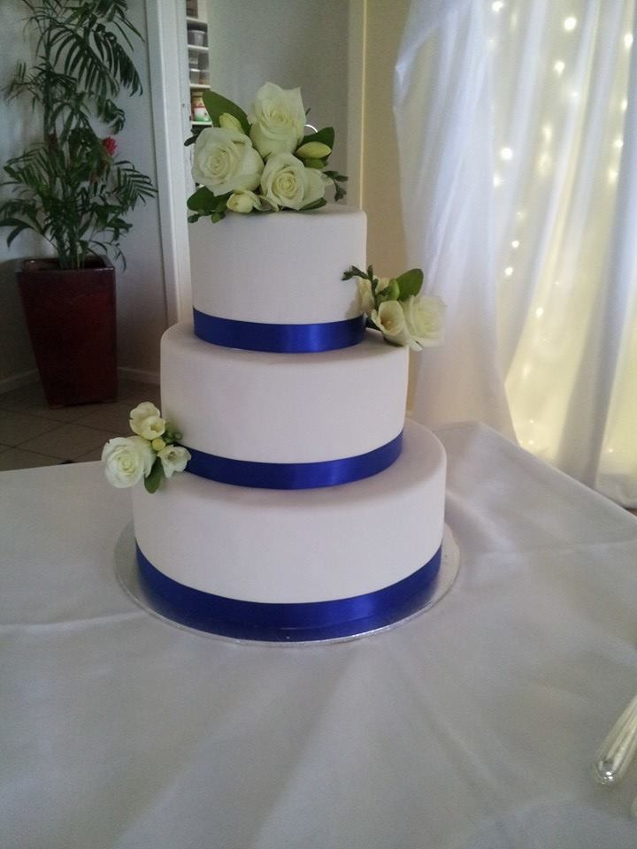 Blue Ribbon Wedding Cake Coastal Cake Design