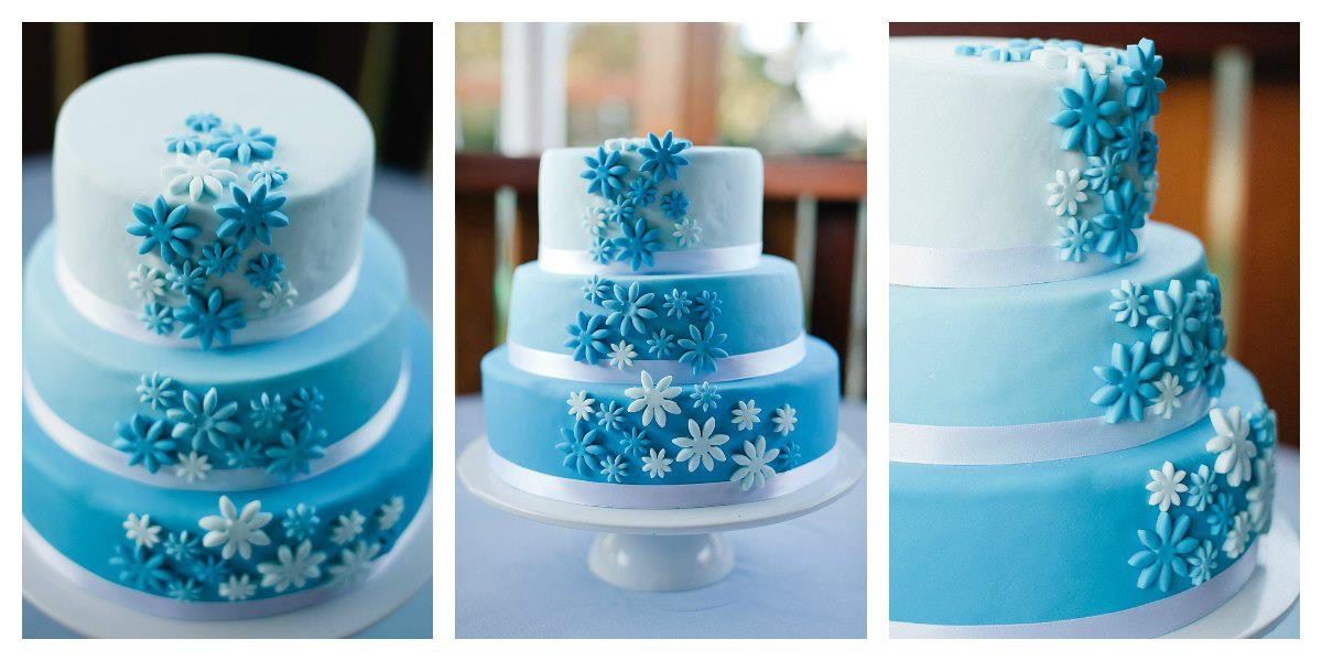 Blue wedding cake coastal cake design this junglespirit Gallery
