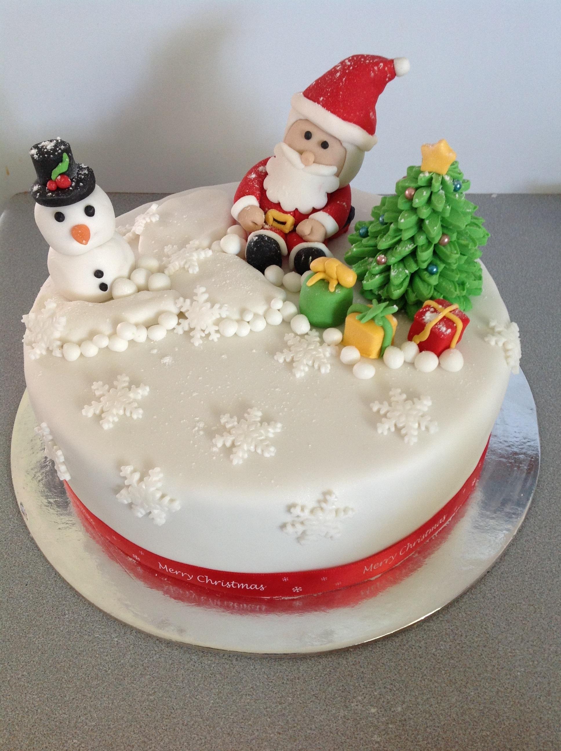 Christmas Cake Designs.Santa Christmas Cake Coastal Cake Design